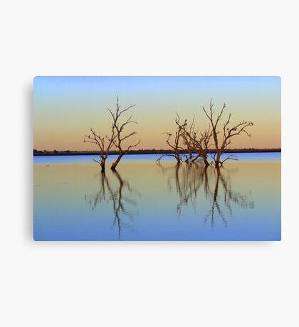 Sunrise over irrigation storage Canvas Print