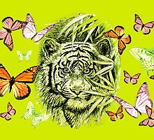 Tiger and Butterflies by GittaG74