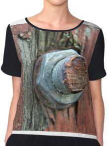 Rusty bolt on a wooden gate Chiffon Top