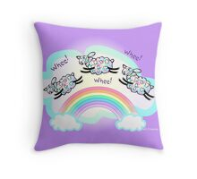 Three Whee Sheep Leaping A Rainbow Throw Pillow