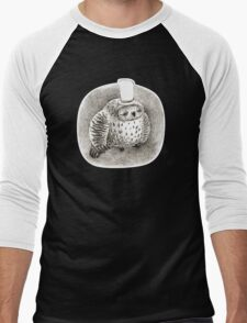 Sleeping Grey Owl In a Cylinder Men's Baseball ¾ T-Shirt
