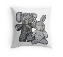 Ellie & Slightly Surprised Rabbit Throw Pillow