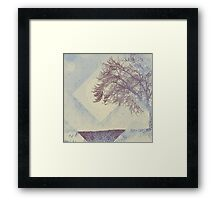 Winter Weather Muted Blue Tree Silhouette Framed Print