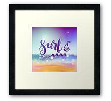 Surf lettering on a  defocus blurred summer background. Framed Print