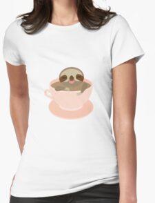 Sloth in a cup 3 Womens Fitted T-Shirt