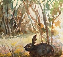Hiding place. Original watercolour on paper by Mary Faux Jackson. by HurstPainters