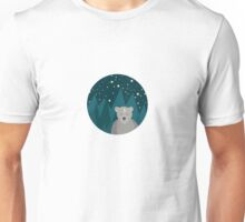 Cute white bear on background Unisex T-Shirt