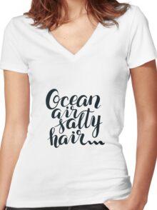 Surf lettering Ocean air salty hair Women's Fitted V-Neck T-Shirt