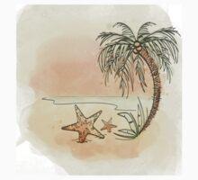 Watercolor Tropical Beach Kids Tee