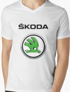 Skoda Logo Mens V-Neck T-Shirt