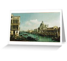 Vintage famous art - Bernardo Bellotto  - View Of The Grand Canal And The Doganaabout 1743 Greeting Card