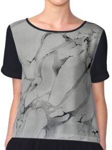 Gray Watercolor Marble Texture Chiffon Top