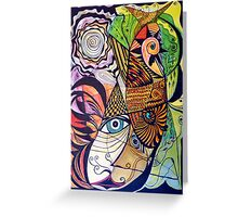 The rooster, fish, cat, and man in the moon Greeting Card