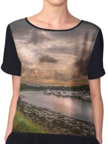 Hamble River in England at sunset Chiffon Top