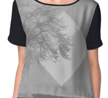 Monochrome Two Tone Trees Chiffon Top