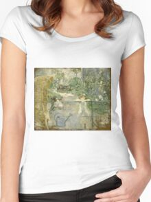 Vintage famous art - Berthe Morisot  - The Basket Chair Women's Fitted Scoop T-Shirt