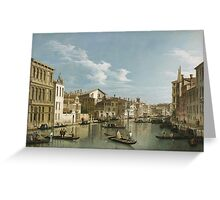 Vintage famous art - Canaletto Antonio - Grand Canal From Palazzo Flangini To Palazzo Bembo 1735 - 1745  Greeting Card