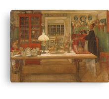 Vintage famous art - Carl Larsson - Getting Ready For A Game Canvas Print
