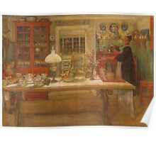 Vintage famous art - Carl Larsson - Getting Ready For A Game Poster
