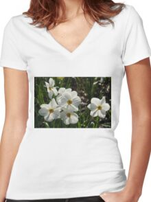 Sparkling, Fabulous White Narcissus with a Touch of Red Women's Fitted V-Neck T-Shirt