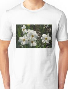 Sparkling, Fabulous White Narcissus with a Touch of Red Unisex T-Shirt