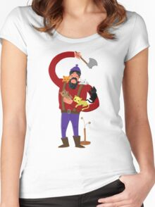 lumberjack with cute kitten companions Women's Fitted Scoop T-Shirt
