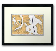 Seattle Washington Puget Sound Nautical Map Framed Print