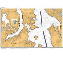 Seattle Washington Puget Sound Nautical Map Photographic Print