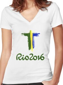 Rio 2016 Brazil Women's Fitted V-Neck T-Shirt