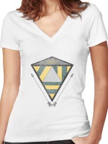 Geometric Distortion Women's Fitted V-Neck T-Shirt