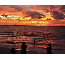 The burning Seychelles sunset Photographic Print