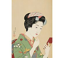 Vintage famous art - Hashiguchi Goyo -  Woman with rouge brush Photographic Print