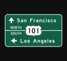 San Francisco-Los Angeles-US Route 101, Road Sign, California One Piece - Short Sleeve