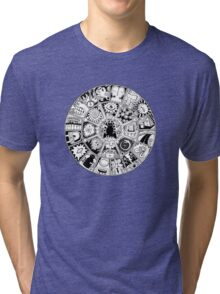 Cat Mandala Black and White Tri-blend T-Shirt