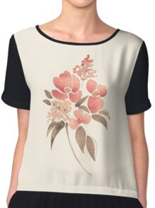 Watercolor illustration with leaves and flowers Women's Chiffon Top