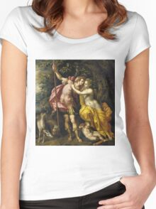 Vintage famous art - Hendrick De Clerck - Venus And Adonis Women's Fitted Scoop T-Shirt