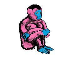 Humanoid ape pink Photographic Print