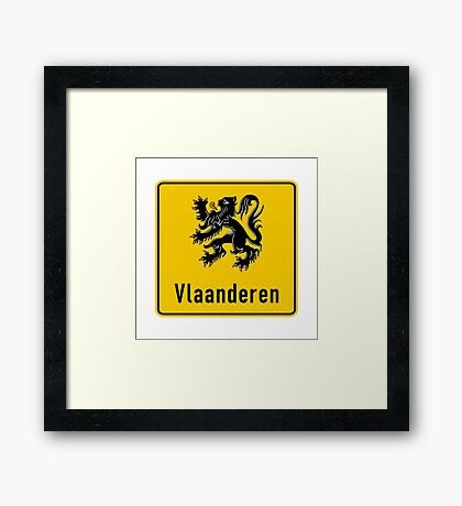 Flanders Road Sign, Belgium Framed Print