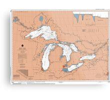 Great Lakes Map Metal Print