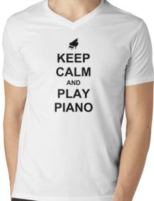 Play Piano (Black) Mens V-Neck T-Shirt