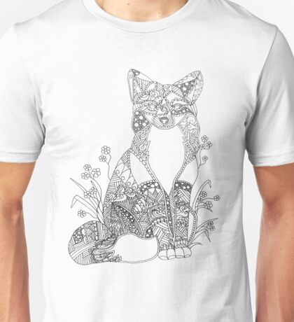 Colorable Fox Abstract Animal Art Adult Coloring Unisex T-Shirt