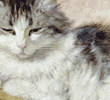 Vintage famous art - Henriette Ronner - A Cat Sticker