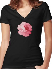 Flower pink peony Women's Fitted V-Neck T-Shirt
