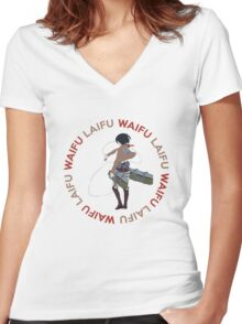 Waifu Laifu Anime Shirt Women's Fitted V-Neck T-Shirt