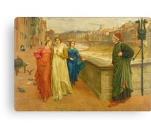 Vintage famous art - Henry Holiday - Dante And Beatrice 1882 Canvas Print
