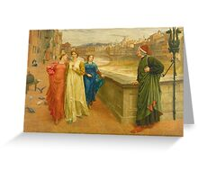 Vintage famous art - Henry Holiday - Dante And Beatrice 1882 Greeting Card