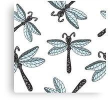 Insect dragon-fly on the gray background Canvas Print
