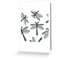 Insect dragon-fly on the gray background Greeting Card