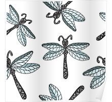 Insect dragon-fly on the gray background Poster