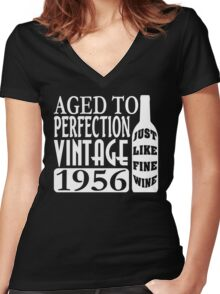 1956 Aged To Perfection Women's Fitted V-Neck T-Shirt
